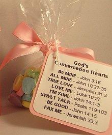 Gods Conversation Hearts Favor Idea  / Seminary Valentine