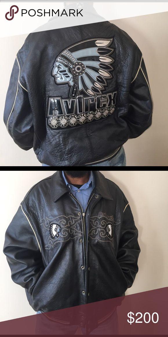 Charcoal gray men's leather Avirex jacket Men's leather jacket in good condition Avirex Jackets & Coats
