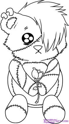 little emo teddy bear ah reminds me of middle school ive graduated to goth status now find this pin and more on random coloring pages