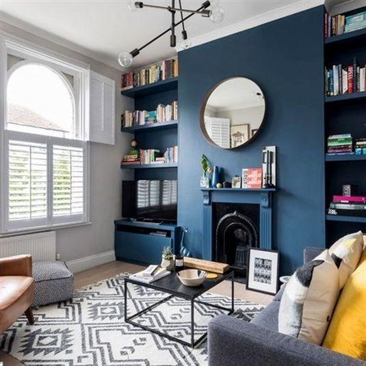 Wohnzimmerdekoration mit Farrow & Ball Stiffkey Blue