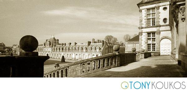 Palais Fontainebleau, architecture, France, sepia, Europe, Tony Koukos, Koukos