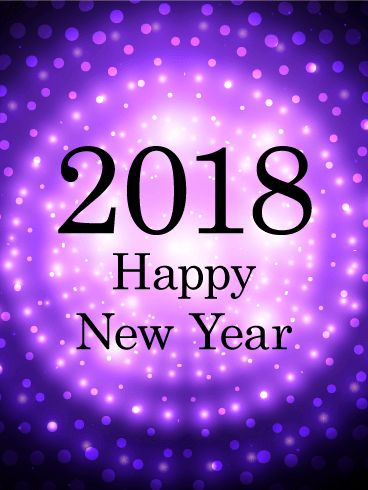 """Purple Glow Happy New Year Card 2018: Have a truly groovy New Year celebration this year! This Happy New Year card features a black background with bright white and purple lights. These lights form a series of rings that fill the New Year card, along with large white spots of light in the center. Black text forms a """"2018 Happy New Year"""" message in the center. Send it out today!"""