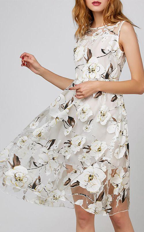 Floral Print Organza Dress With Belt