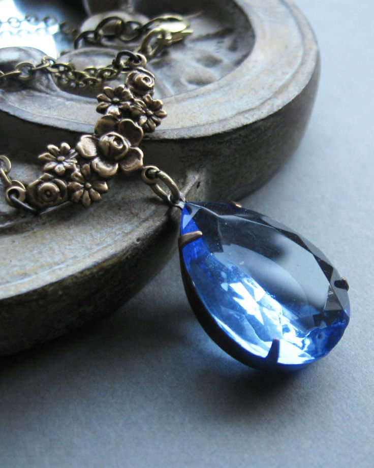 Blue Crystal Pendant Necklace Vintage Inspired Faceted Jewel Necklace