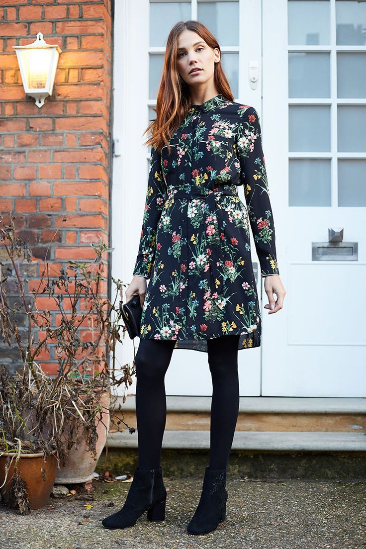 Thought floral dresses were just for summer days? Think again.