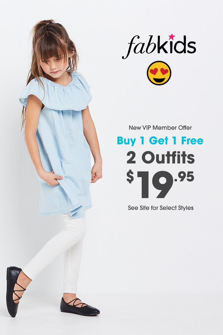 Fabulous and fresh new kids styles at prices you won't find anywhere else. Become a New VIP Member and get your 2 outfits for just $19.95! See site for select styles.