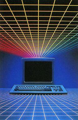 80s color grid computer