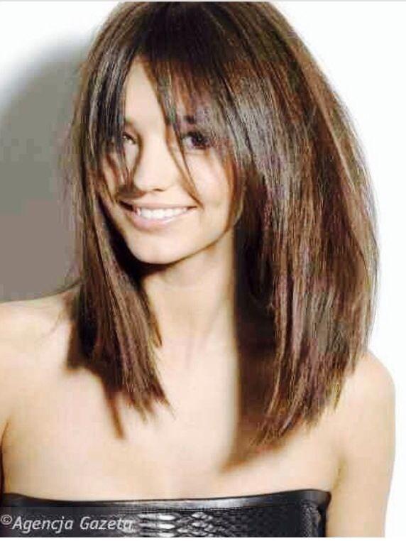 Bangs  and a long  layered bob  Hairstyles  Pinterest
