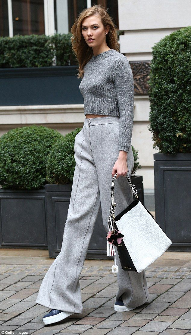 Glam: Karlie Kloss proved that when you find a winning fashion formula, you should stick to it - as she displayed at London Fashion Week on Sunday