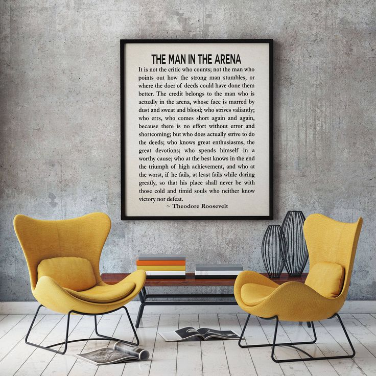 The Man In The Arena by Theodore Roosevelt Literary Quote Roosevelt Speech Courage Poster Teddy Roosevelt President Speech Graduation Gift by WallBuddy on Etsy