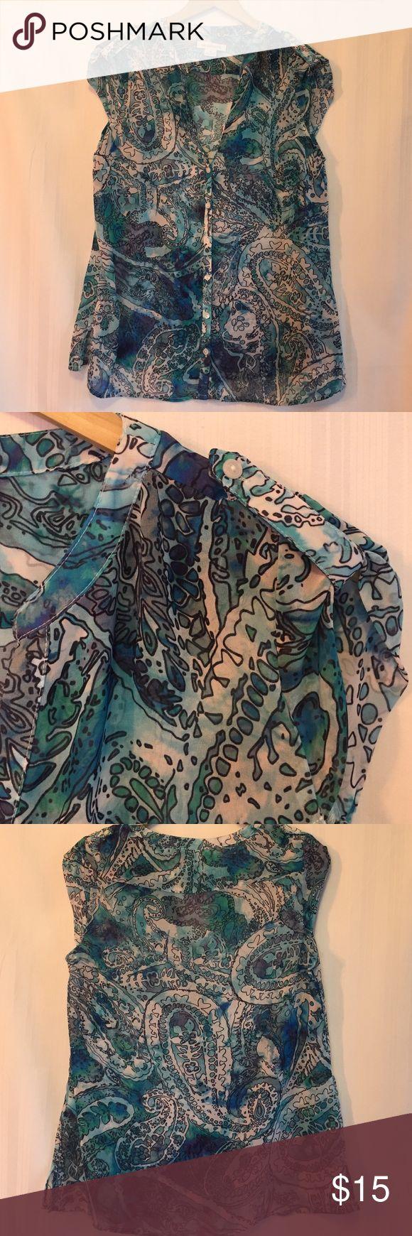 Liz Claiborne blouse 100% polyester button front , epaulets on shoulders Liz Claiborne Tops