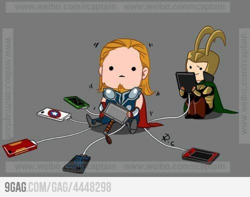 Thor as a charger. I like how the Hulk's one is cracked.