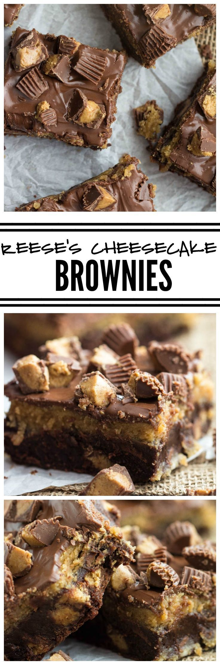 Reese's Cheesecake Brownies are for the ultimate Reese's lover! A fudgy brownie layer stuffed with peanut butter cups and a creamy peanut butter cheesecake layer! These are insanely good!