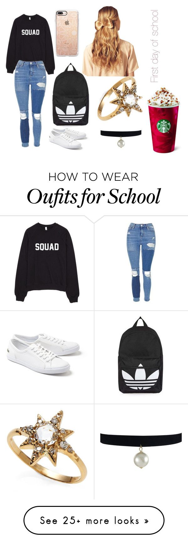 """First day of school"" by wills-emily on Polyvore featuring Topshop, Lacoste, Casetify, Hershesons and Anzie"