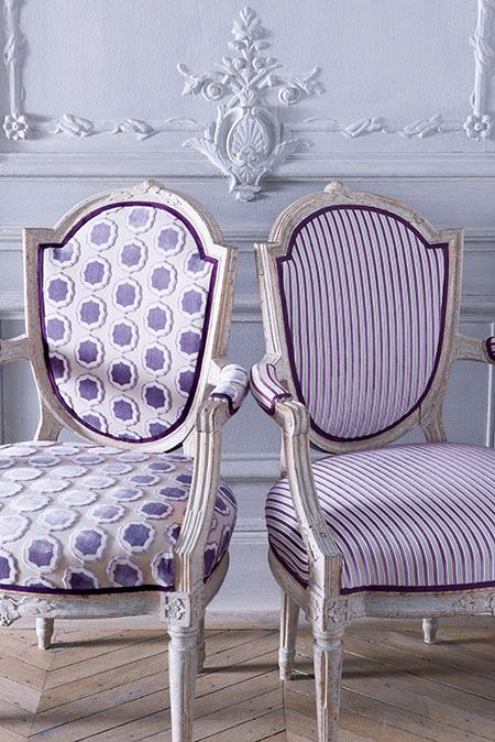 Ideas for two new chairs -Love these purple chairs and the collection of fabric by manuel canovas via @FieldstoneHill Design, Darlene Weir Design, Darlene Weir Design, Darlene Weir