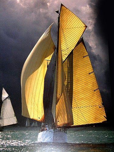 gaff rig wing on wingWater, Photos, Sailboats, Sailing Ships, The Ocean, Sea, Yellow, Sailing Away, Sailing Boats