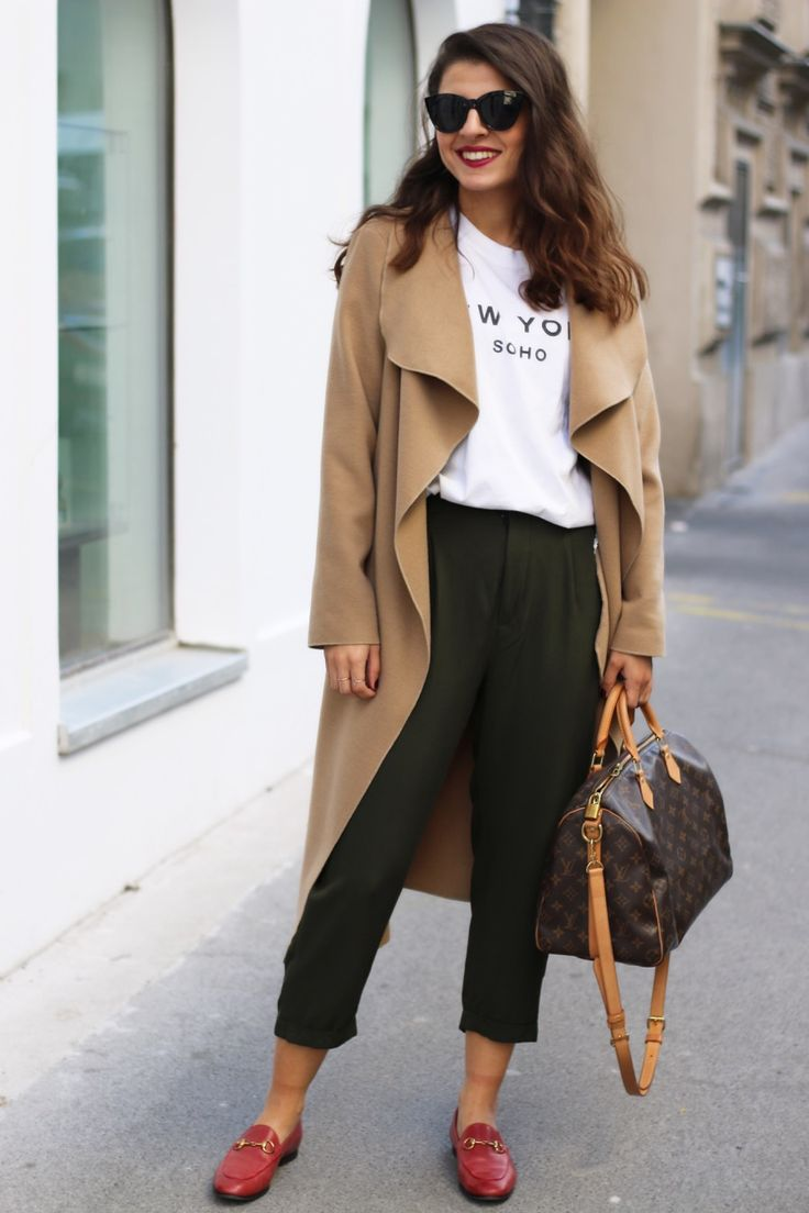 Camel Coat | Brandy Melville New York Shirt | Louis Vuitton Speedy B. | Gucci Jordaan Loafer | Le Specs Halfmoon | Fashionnes