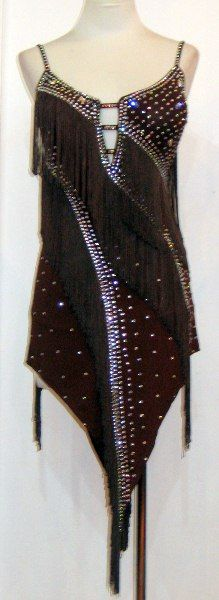 Brown Latin dress with fringe   	US$898.00