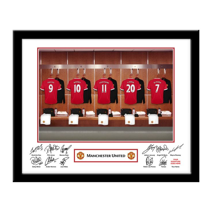 Personalised Framed Manchester United Dressing Room Photo, Football Gifts for Boys, Birthday Gifts, Personalised Childrens Gifts