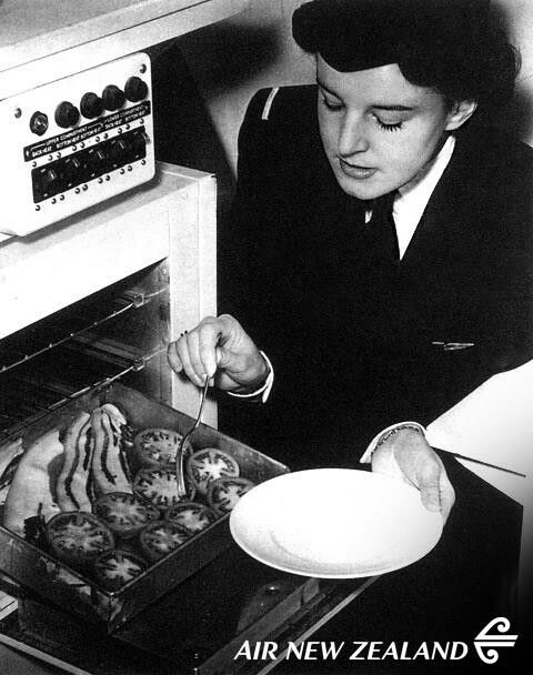 TEAL Stewardess preparing meals onboard Sandringham Flying Boat 1946