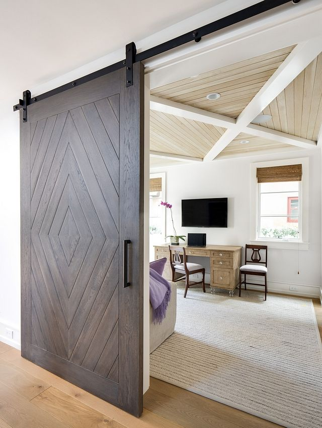 The Study Features Tongue And Groove Coffered Ceiling And A Large Barn Door Designed To Mimic The Cei Barn House Interior Bedroom Door Design Barn Door Designs