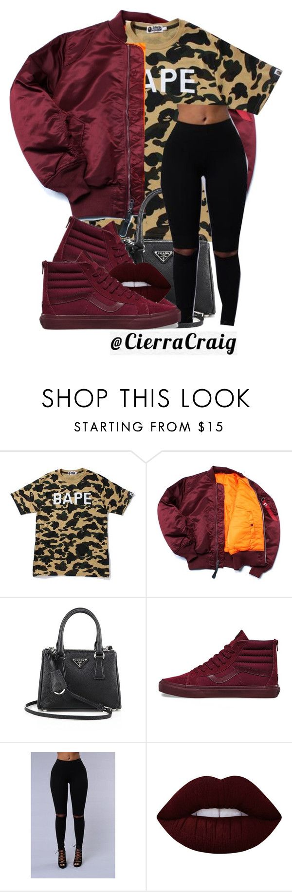 """""""Street Fashion"""" by cierracraig ❤ liked on Polyvore featuring A BATHING APE, Prada and Vans"""