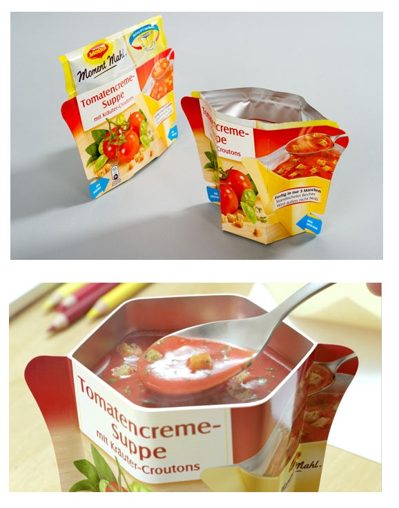"Maggi ""Moment Mahl""  a practical collapsible-cup packaging for instant soups. The packaging is remarkable due to the combination of a flexible pouch that contains the product and a folding paperboard part that turns into a convenient cup upon squeezing the bag."