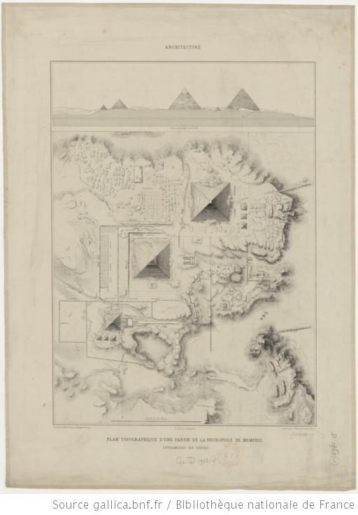 Plan topographique d'une partie de la nécropole de Memphis (pyramides de Gizeh) / E. Prisse d'Avennes