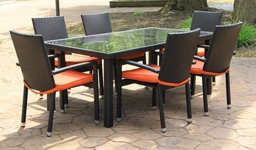 7-Piece Black Resin Wicker Outdoor Furniture Patio Dining Set - Orange Cushions