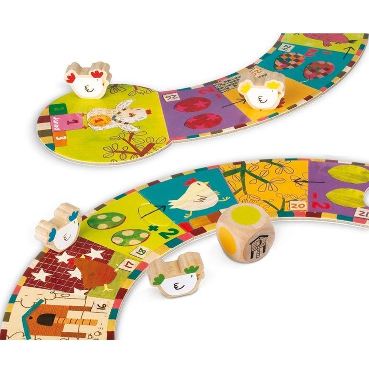 Het Kippenspel van Janod is een gezellig familiespel wat lijkt op ganzenbord. Het is leuk om te doen en een ideaal spel om kleuren en cijfers te leren.