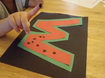 Letter W for Watermelon craft with Fingerprints