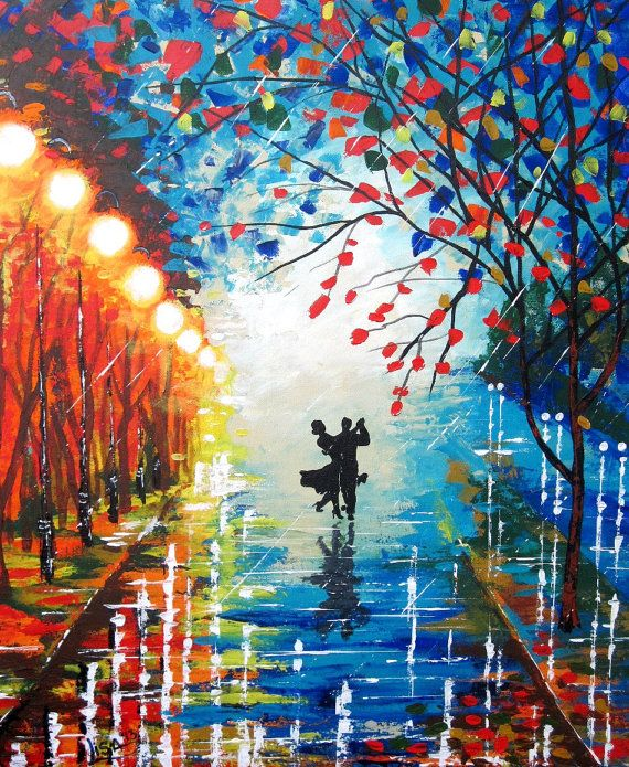 dancing in the rain canvas paintings rain acrylic contemporary art dancing couple. Black Bedroom Furniture Sets. Home Design Ideas