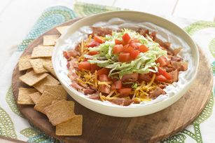 Creamy Layered BLT Dip  what you need  1 container  (16 oz.) BREAKSTONE'S or KNUDSEN Sour Cream  1/2 tsp.  onion powder  6 slices  OSCAR MAYER Fully Cooked Bacon  1/2 cup  KRAFT Shredded Cheddar Cheese  2  tomatoes, chopped, divided  1 cup  shredded lettuce   WHEAT THINS Original Snacks