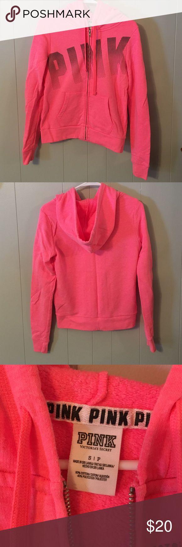VS PINK hot pink Zip Up hoodie VS PINK hot pink Zip Up hoodie. Black lettering on front. Great condition. Worn 2-3 times. PINK Victoria's Secret Tops Sweatshirts & Hoodies