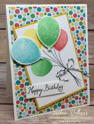 Simple card made using Stampin' Up! BALLOON CELEBRATION stamp set. All the details are on the blog! Created by Jackie Bolhuis, Stampin' Up! Demonstrator. 100's of StampinUp card ideas on blog.