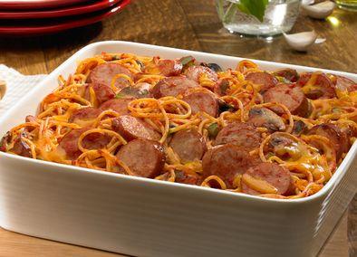 Baked Smoked Sausage Spaghetti Casserole