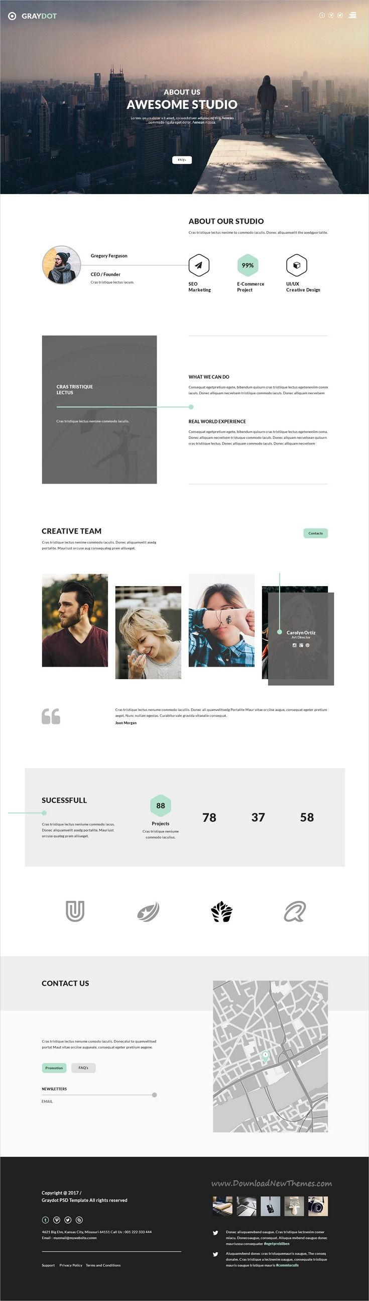 Graydot is clean and modern design PSD #template for creative business #agencies website with 9 layered PSD pages download now..