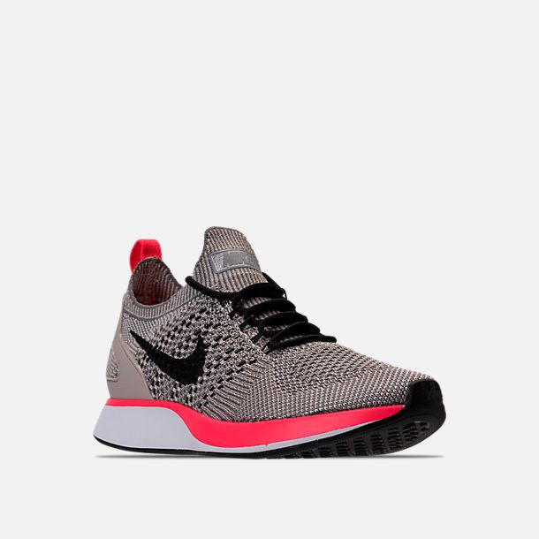 Three Quarter view of Women's Nike Air Zoom Mariah Flyknit Racer Casual  Shoes in String/