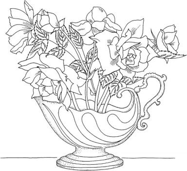 Coloring Sheets Adults On Bouquet Nice Roses Page Picture Super