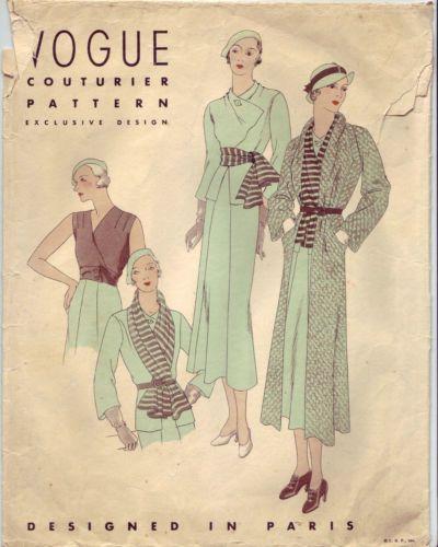Vogue 176  Beautiful Vintage Vogue 30's Couturier Exclusive Paris Design Ensemble Pattern