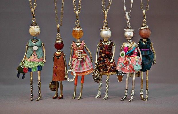 2015 neue puppe kettenanhänger kleid stoff-gewebe trendige mode Schmuck für frauen acryl legierung blume zubehör großhandel