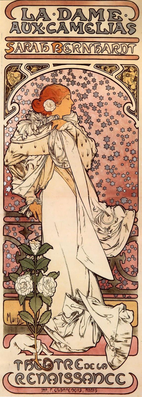 """Alphonse (Alfons) Mucha - Illustration - Art Nouveau - Affiche pour """"La Dame aux Camelias""""- Sarah Bernhardt (1896)"""