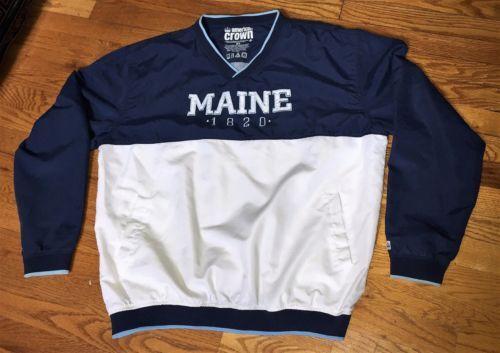 American-Crown-Maine-1820-Navy-Blue-White-Pullover-Windbreaker-Jacket-XLarge-XL