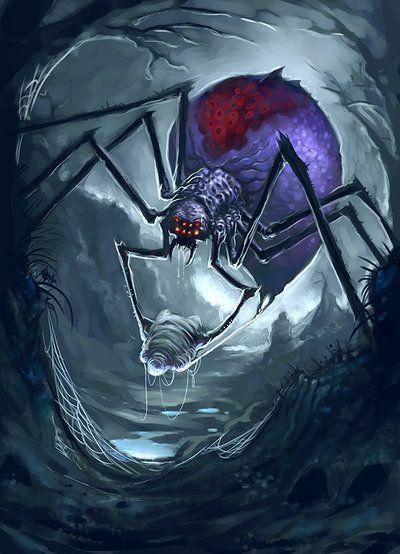 ACROMANTULA:é uma aranha monstruosa de oito olhos e dotada de fala humana. É originária da Ilha deBornéu, onde habita afloresta tropical. Suas características incluem pêlos negros e grossos que lhe cobrem o corpo, pernas que têm uma envergadura que pode abranger até quatro metros e meio, pinças que produzem um estalido distinto quando ela se excita ou se irrita; e, finalmente, produz uma secreção venenosa e teceteiasabobadadas no solo.A acromântula é carnívora.