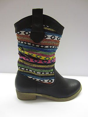F50030 Ladies Black/Multi Cow Boy Boots