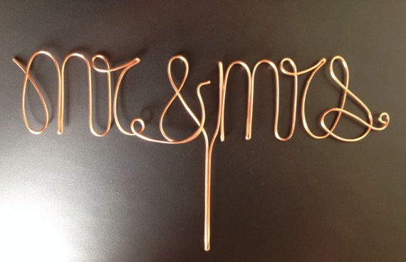 Copper Mr. and Mrs. Cake Topper by CopperMaidenJewelry on Etsy