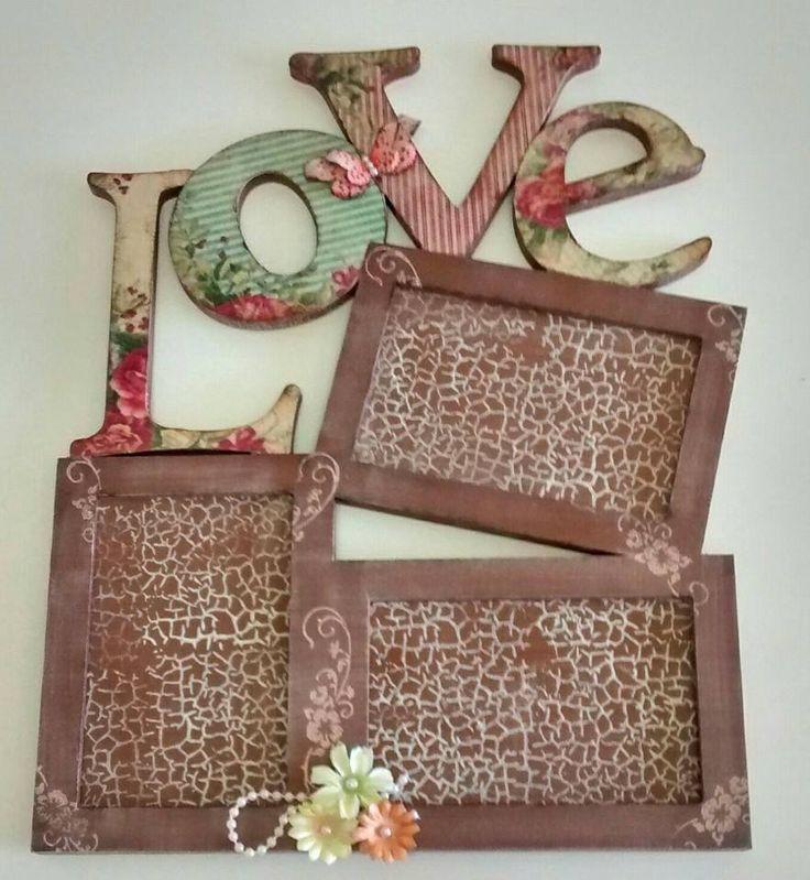 Decoupage Love frames