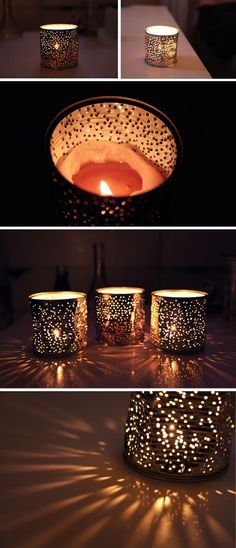 Poétiques & romantiques lumières. Créer à partir de boîtes de conserves percées. - Poetic & romantic lights. Create from pierced tin cans.