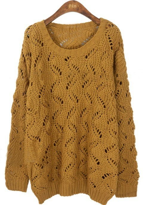 Yellow Batwing Long Sleeve Hollow Pullovers Sweater - I want this SO bad.