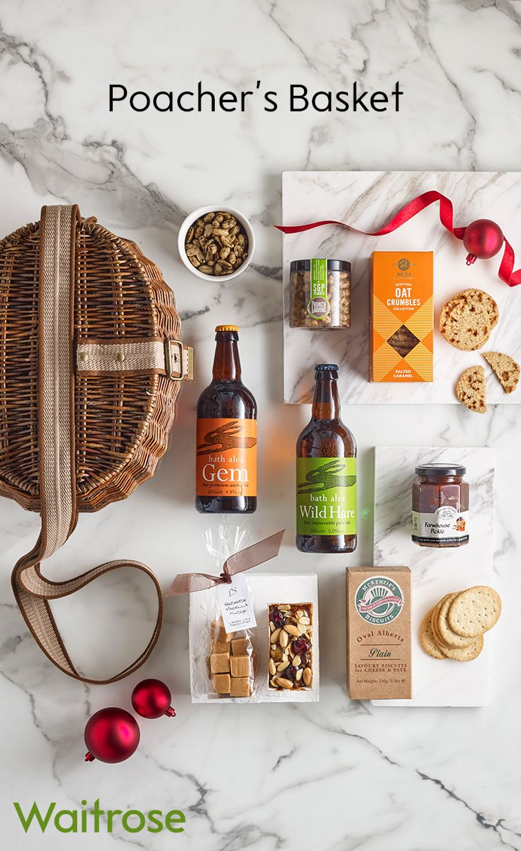 A beautiful willow basked filled with ales, pickles and biscuits. This selection of goodies would be a great Christmas present for a loved one. See more on the Waitrose Gifts website.